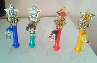 Sailor Moon Gashapon Rods and Keychains