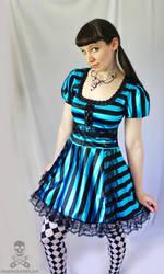 satin stripe Dark Alice in Wonderland gothic lolit