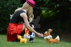 Serena, Fennekin, Pancham and Eevee  - Pokemon