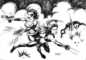 Domino and X-23 by JNcomix