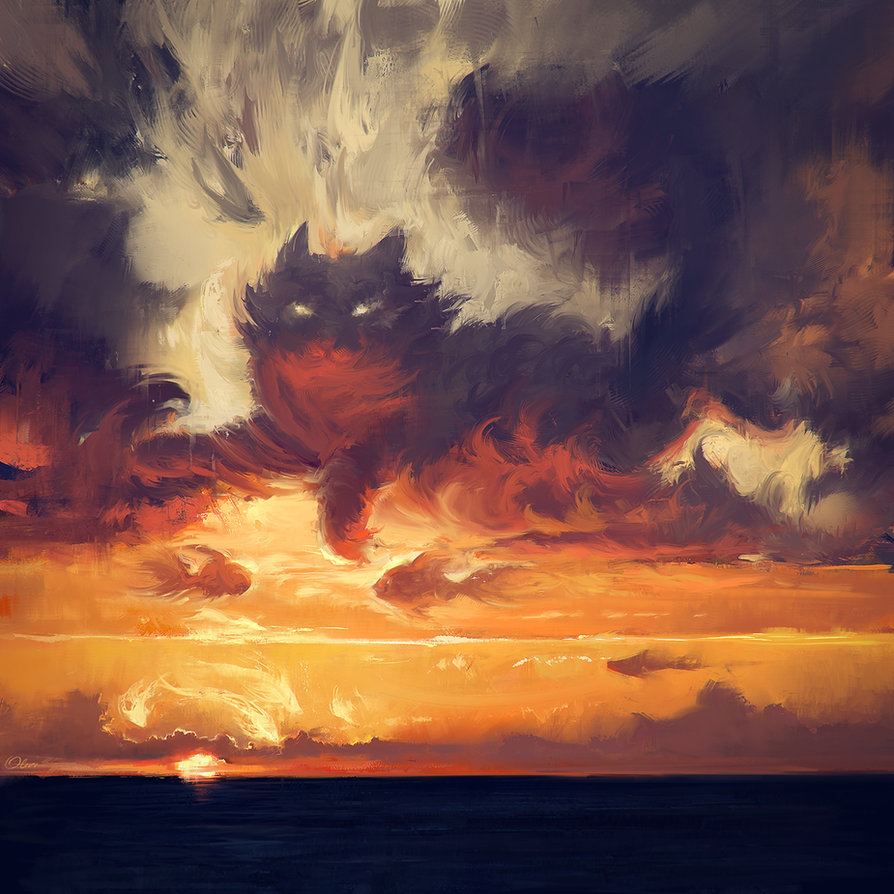 Meow sunset by O-l-i-v-i