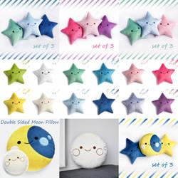 Moon and Stars Plush Pillows