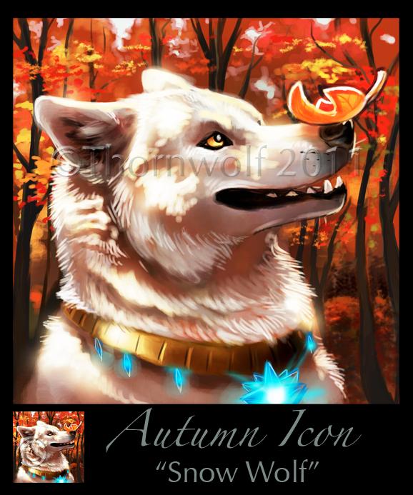 Autumn Icon - Snow Wolf by thornwolf
