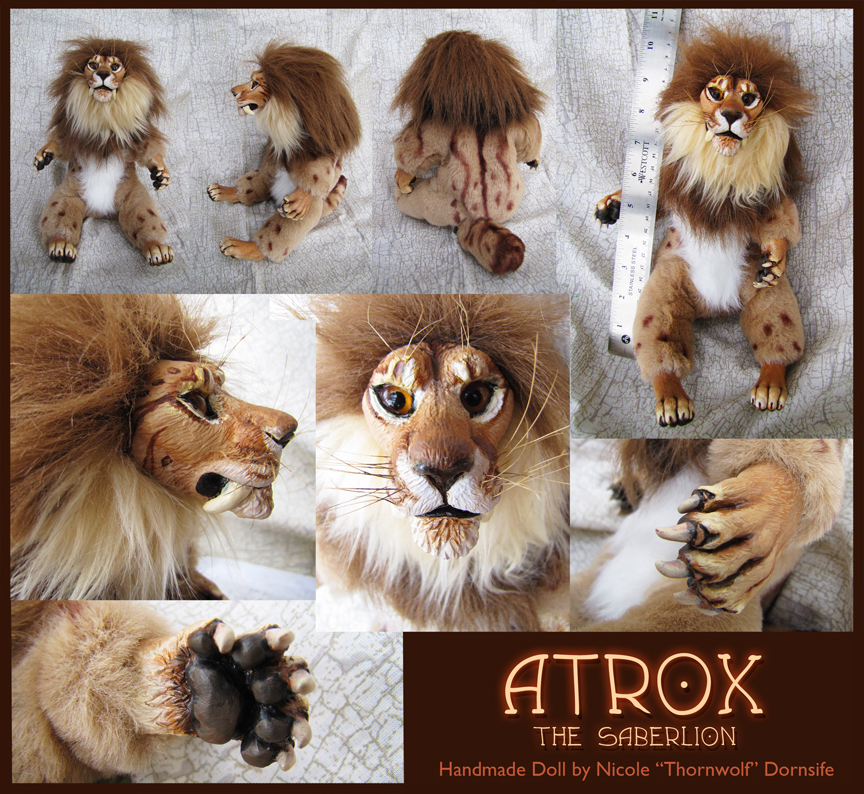 Atrox the Saberlion - Handmade Doll by thornwolf