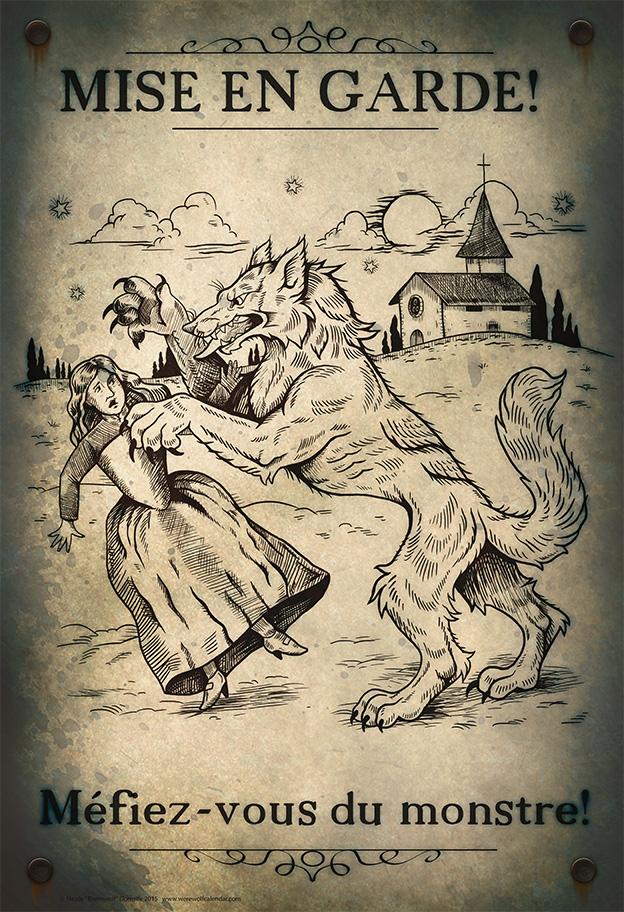 Loup Garou Mini Poster (Non-bloody Version) by thornwolf