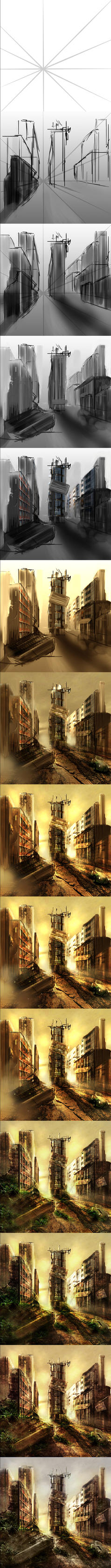 Post Apocalyptic Scene Process.... by MilanPad