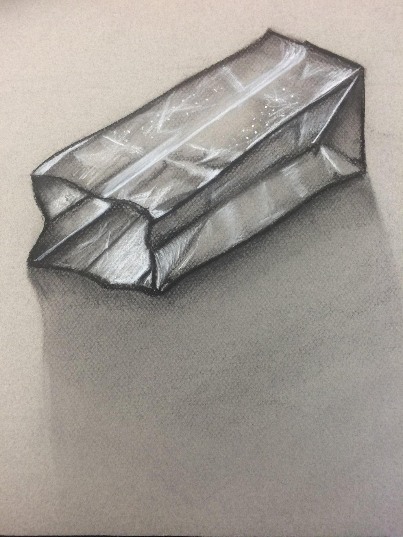 Paper bag sketch -  Art Class Paper Bag Charcoal Sketch By Mintasaurus