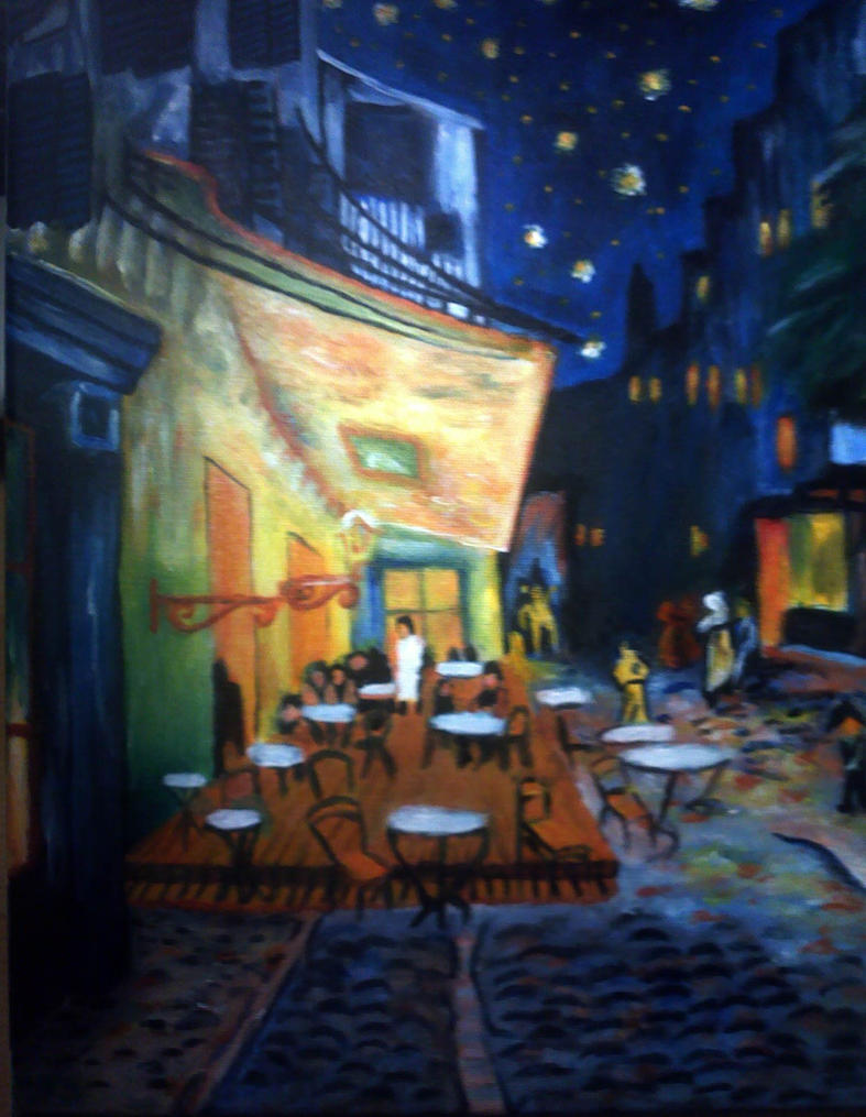 Painting van gogh 39 s cafe terrace at night by tj scorpio88 for Terrace night