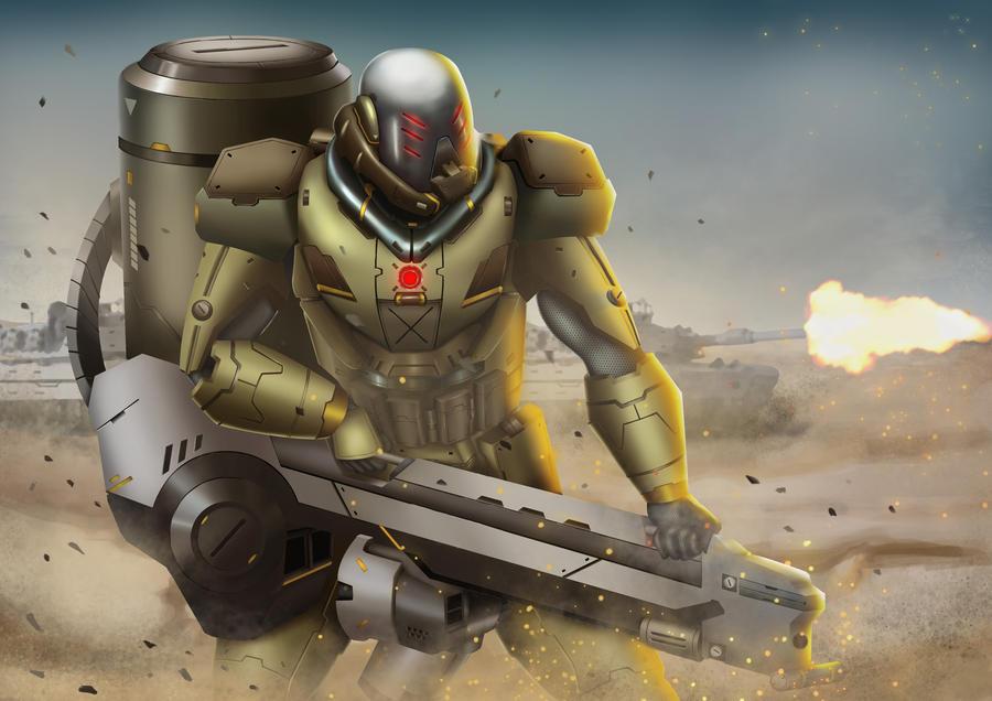 Mecha heavy gunner by PainTrigger