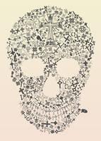 Assorted Crosses Skull by blueplasticbag