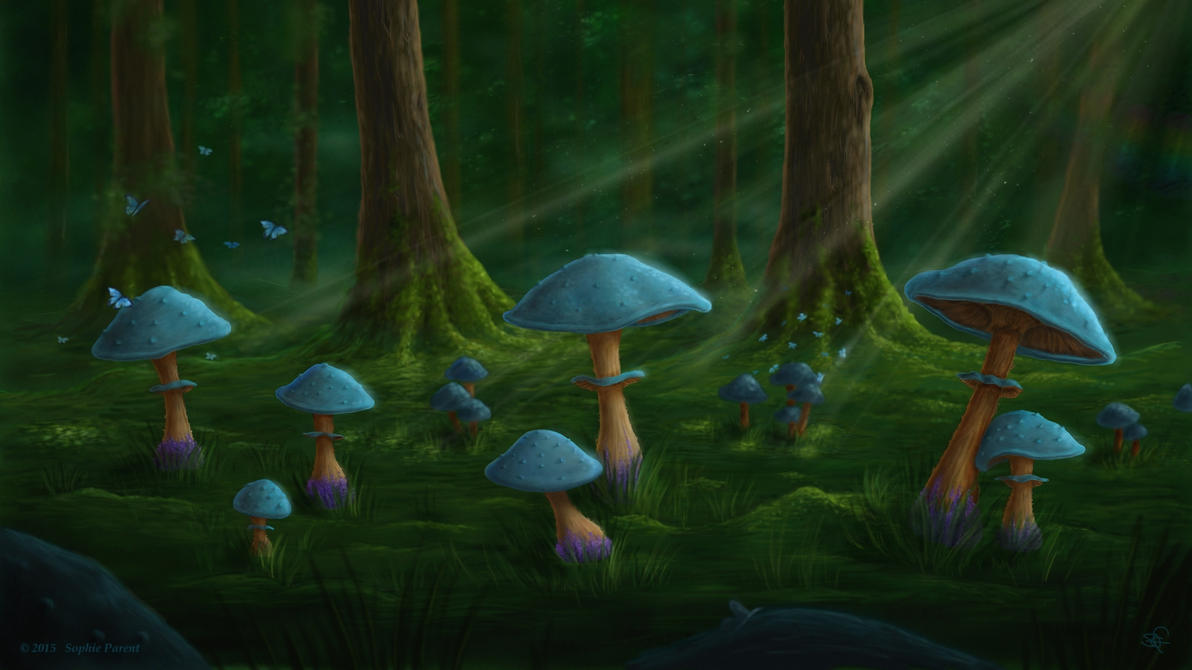 Blue Mushrooms by Sanguinae