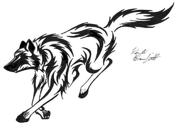 Running tribal wolf by waddygigger