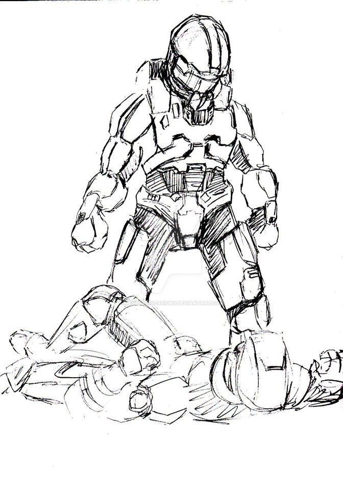 Master Chief knock out by mentaldiversions