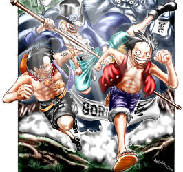OP-FanColoriz Luffy-Ace-Sabo