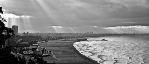 Rays Piercing Over the Bay in Black and White by 4umypix