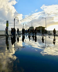 Puddle Reflection on Pier by 4umypix