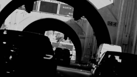 A Slant on LA Traffic in Black and White