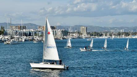 Sailboats Leaving the Marina