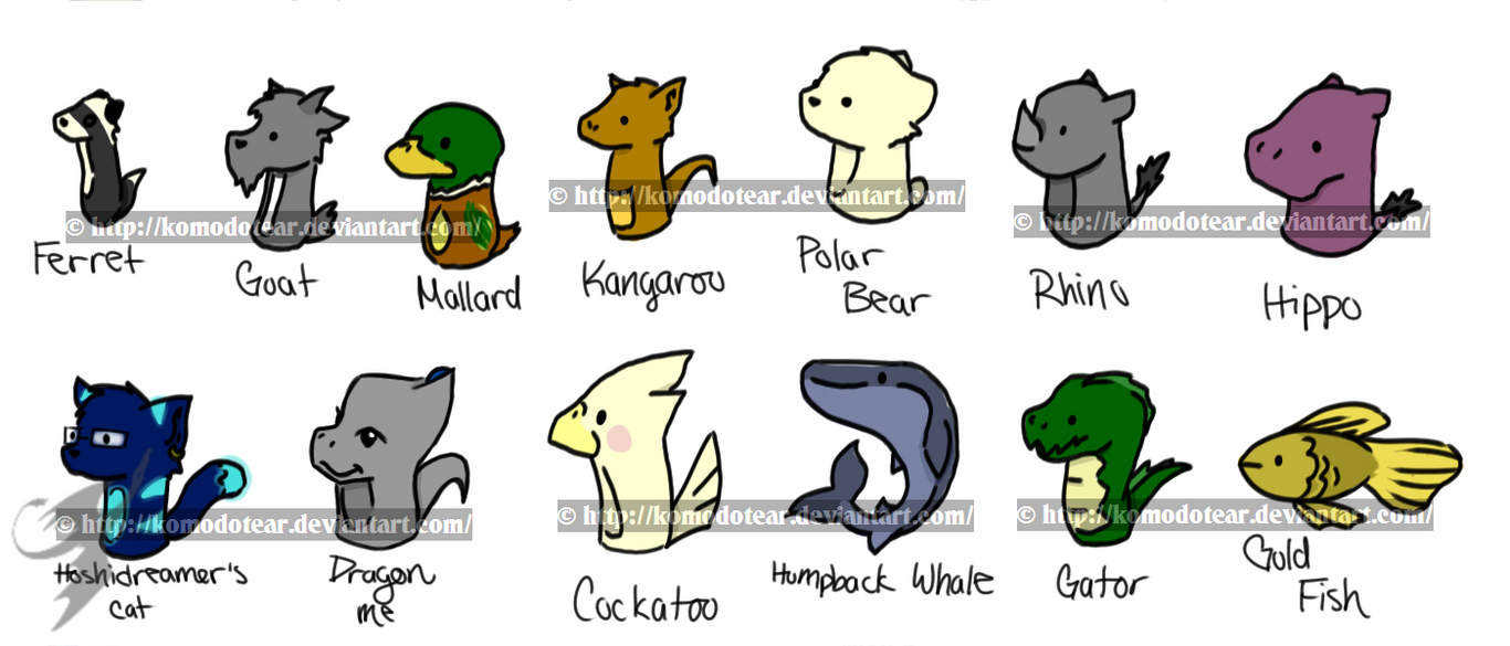 Animal Chibi March 3 by KomodoTear