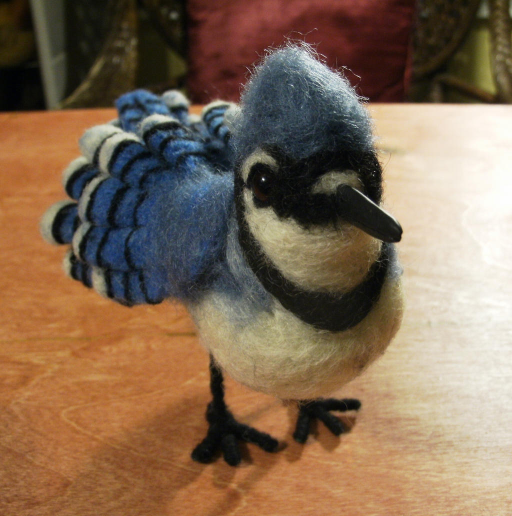Needle Felted Blue Jay by JessieDockins