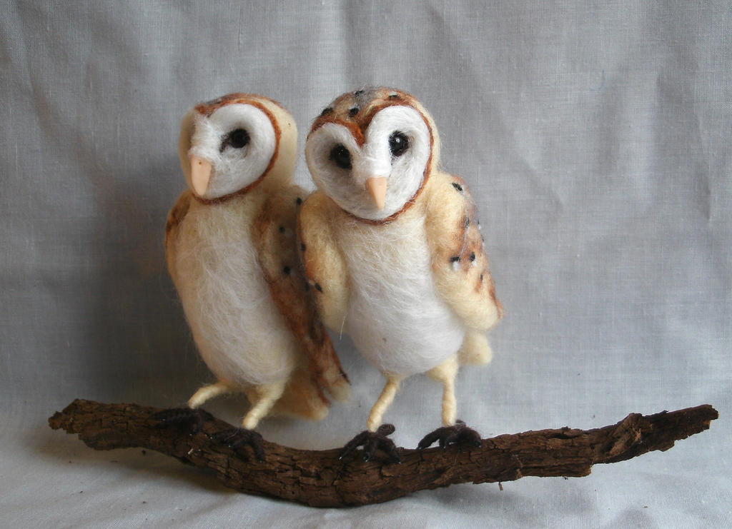 Needle Felted Barn Owls by JessieDockins