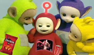 Teletubbies watching WWE