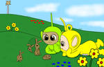 (Teletubbies) seeing the rabbits