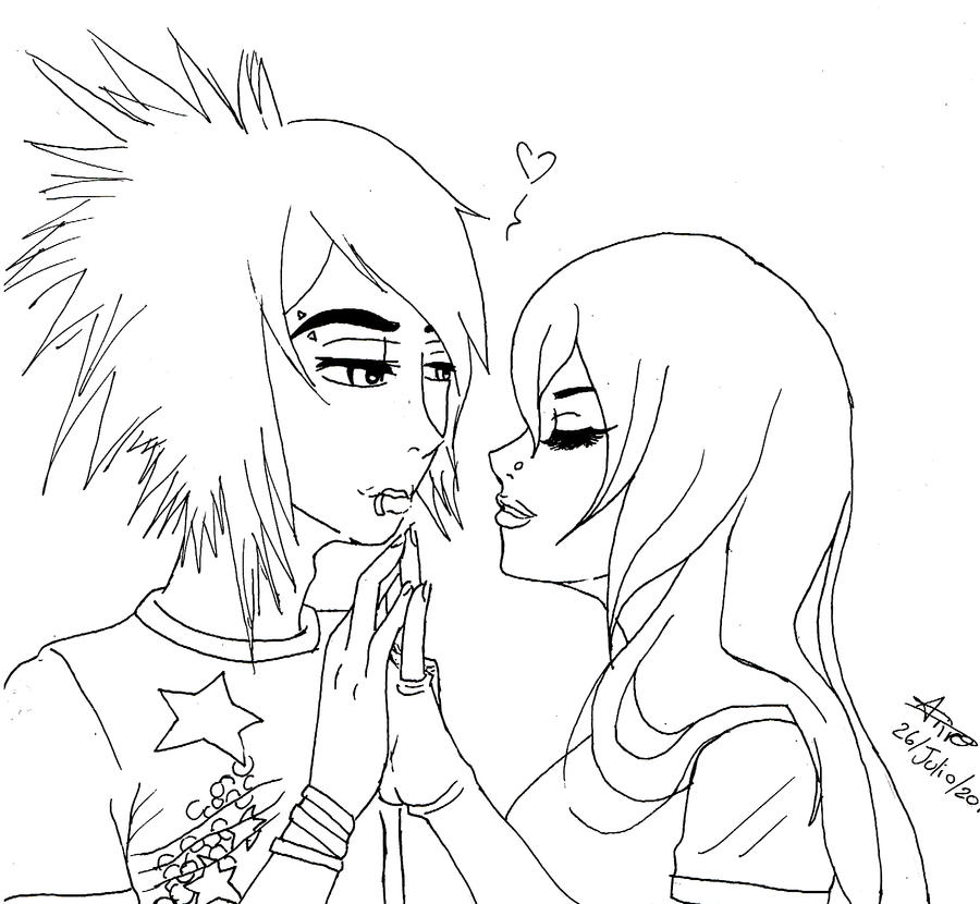 Emo couple free comssion by ivando on deviantart for Emo coloring pages