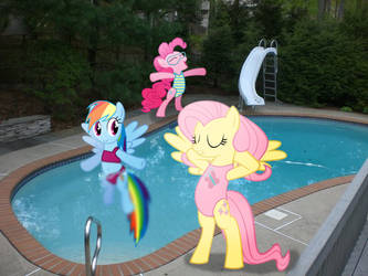 Dashie, Fluttershy, and Pinkie's day at the pool!
