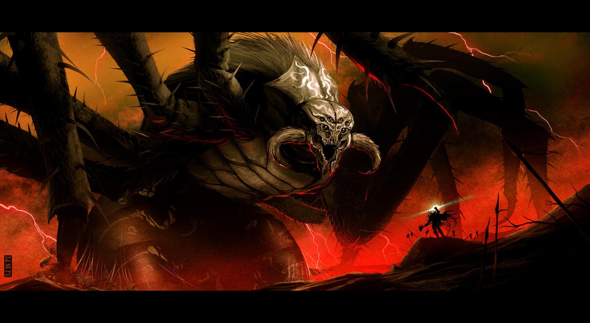 Ungoliant and Melkor by rubendevela