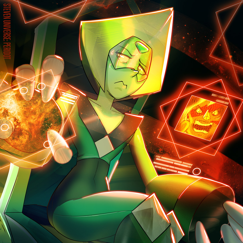 Peridot from Steven Universe! I like how her design could have walked out off a Megaman franchise. I have a feeling she isn't ACTUALLY evil, just a bureaucrat whose STUFF KEEPS GETTING EXPLODED!!!!...