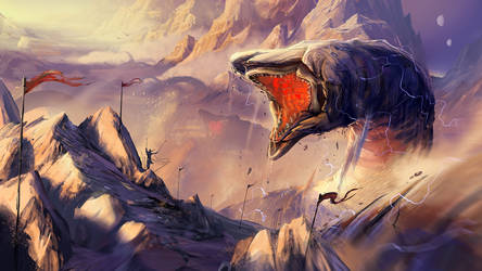 Sandworms at the Shield Wall by rubendevela