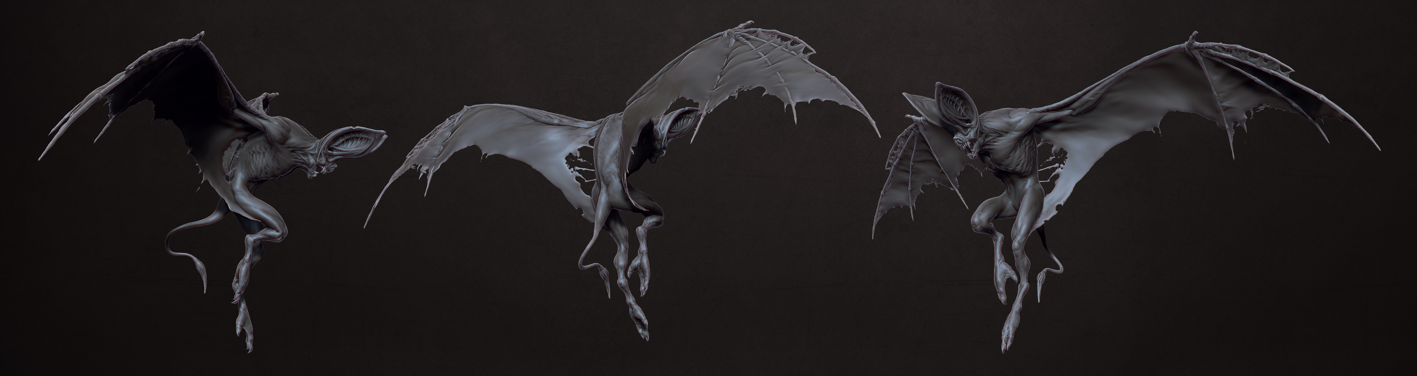 Bat Creature Concept Turnaround by kassarts