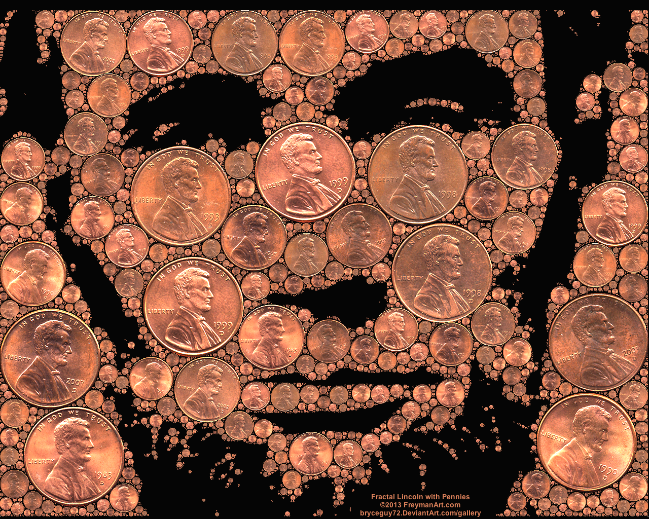 Fractal Lincoln with Pennies by bryceguy72