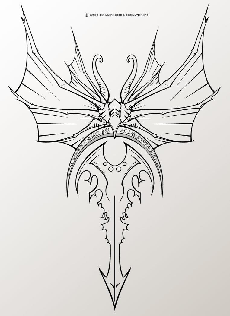 evil wing crescent tattoo by obsolution on deviantart. Black Bedroom Furniture Sets. Home Design Ideas