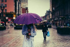 People under umbrellas by BirdSophieBlack