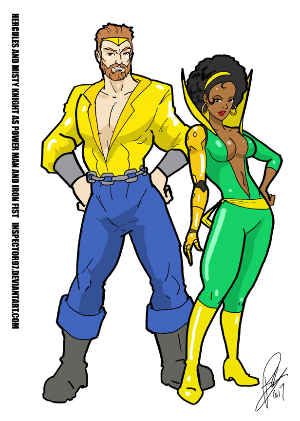 Hercules and Misty Knight as Power Man and Iron Fi by Inspector97