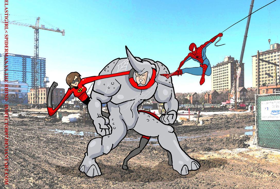 Elastigirl Spiderman and Rhino 1 by Inspector97