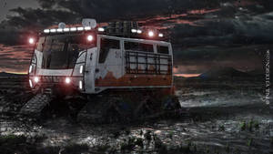 Exploration Vehicle Concept - Mountain Sunset