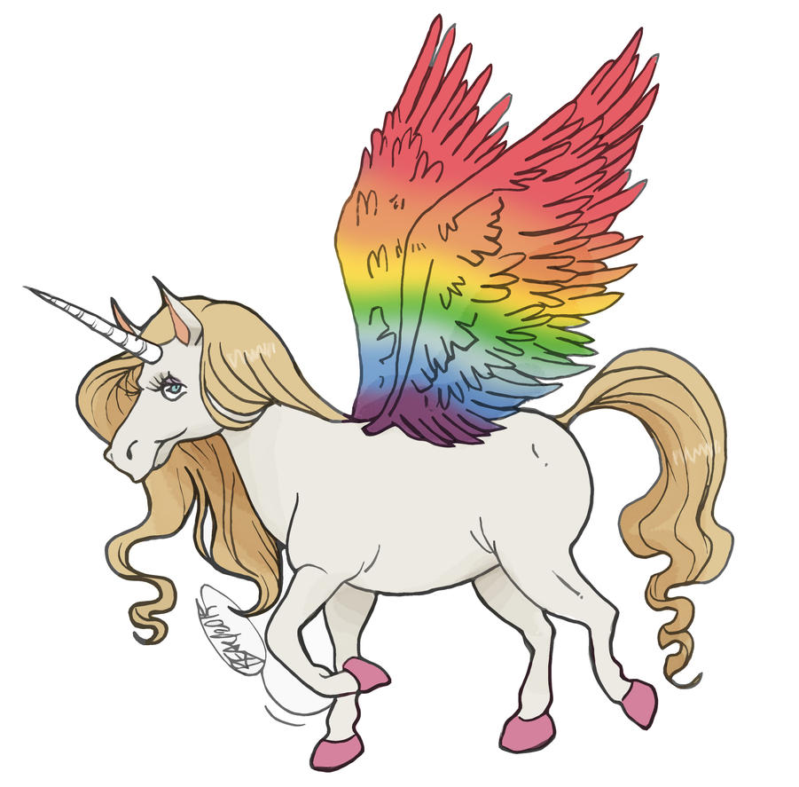 Unicorn With Wings And Rainbow Pony Pegasus Un...
