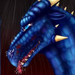 Thom the Dragonborn in the rain