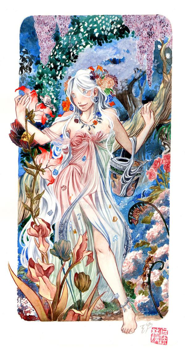 In her garden by Ofride
