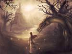 Princess and dragon at a lake