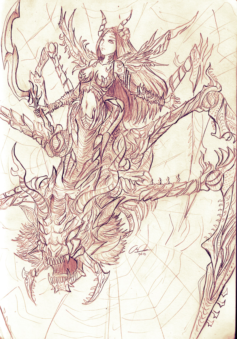 Pencil: Arachnide Queen by zamboze