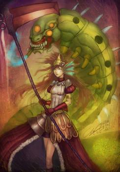Girl with a schyte and a smoking giant caterpillar
