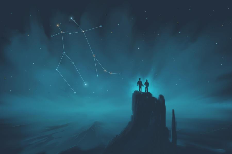gemini constellation painting  zodiac set  by