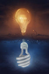 Sky Light Bulbs ( Surreal Sun and Moon Painting )