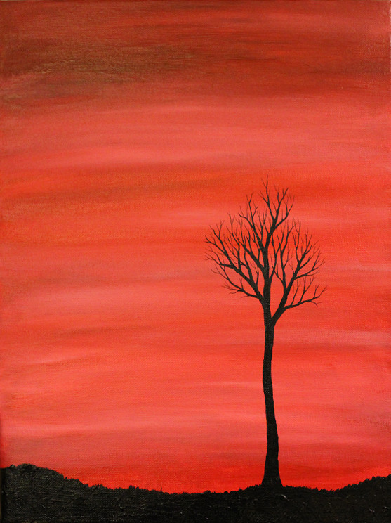 Silhouette Tree Paintings Tree Silhouette Painting by