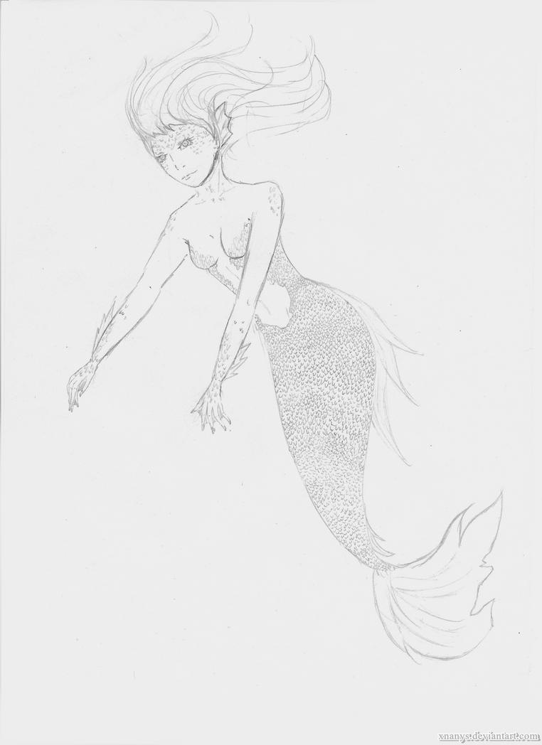 Night sketch - Mermaid by xNanys
