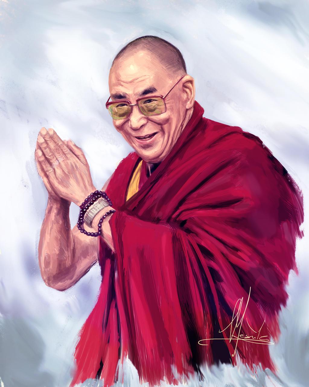 Dalai Lama portrait (Tenzin Gyatso) by Mesrile on DeviantArt